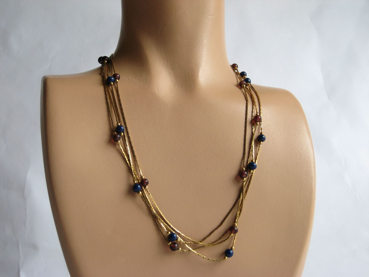 Monet thin gold metal chains with Lapis and Amethyst beads. - product image