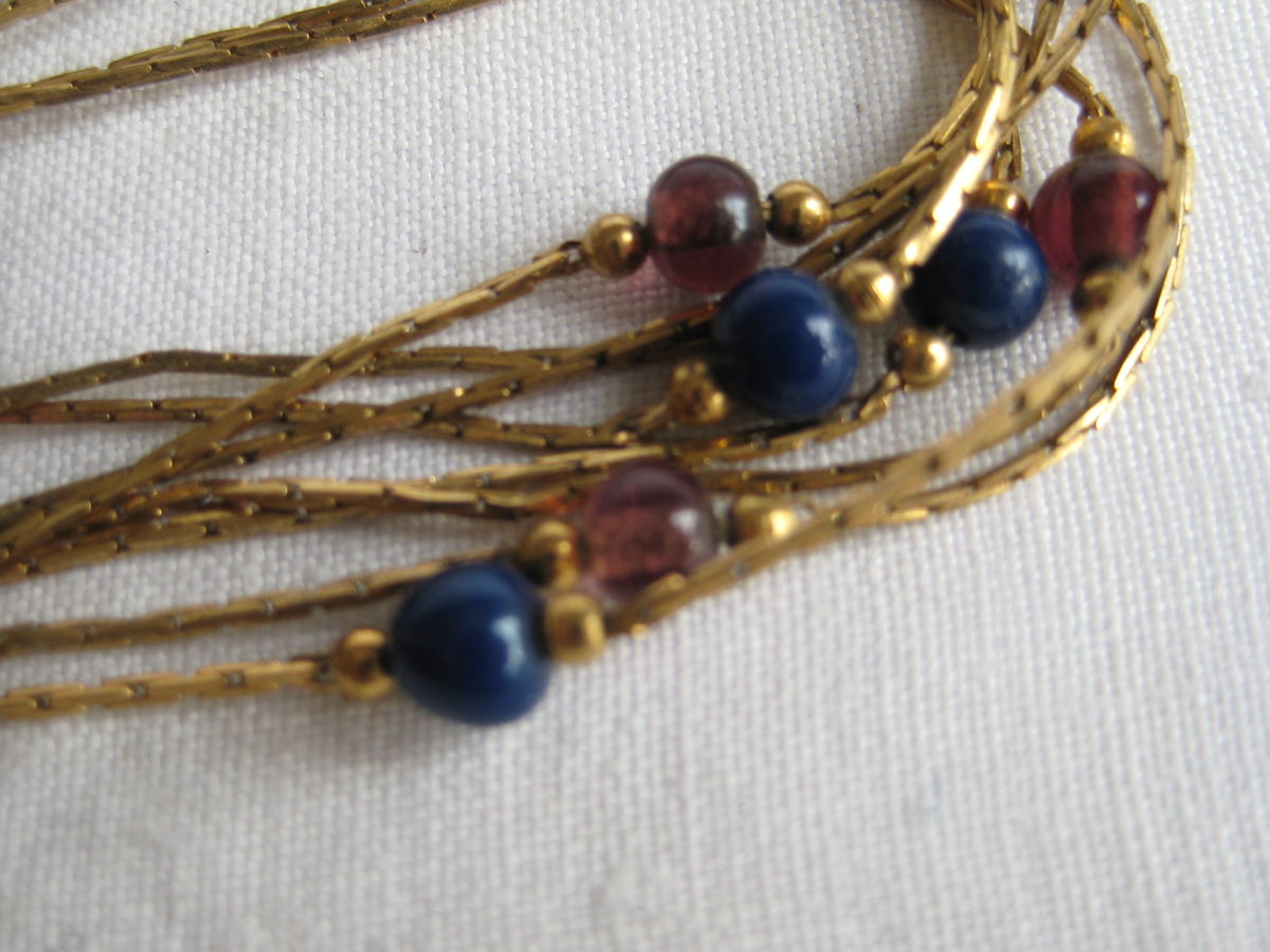 Monet thin gold metal chains with Lapis and Amethyst beads. - product images  of