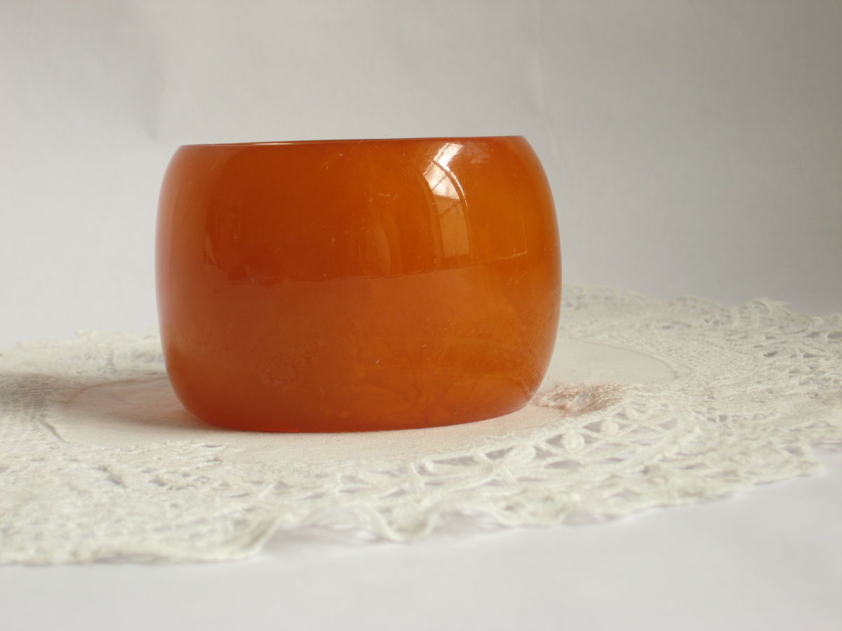Huge Orange Lucite Bangle Bracelet - product image