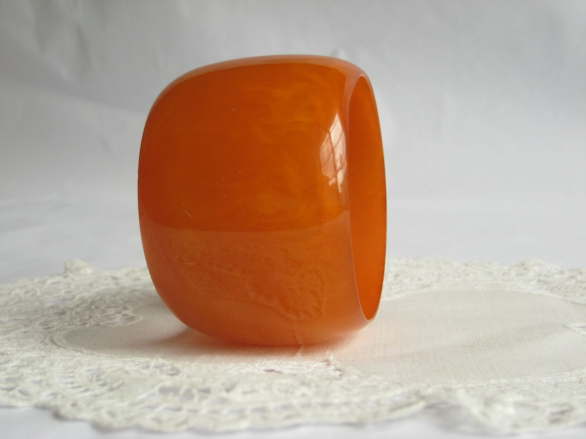 Huge Orange Lucite Bangle Bracelet - product images  of