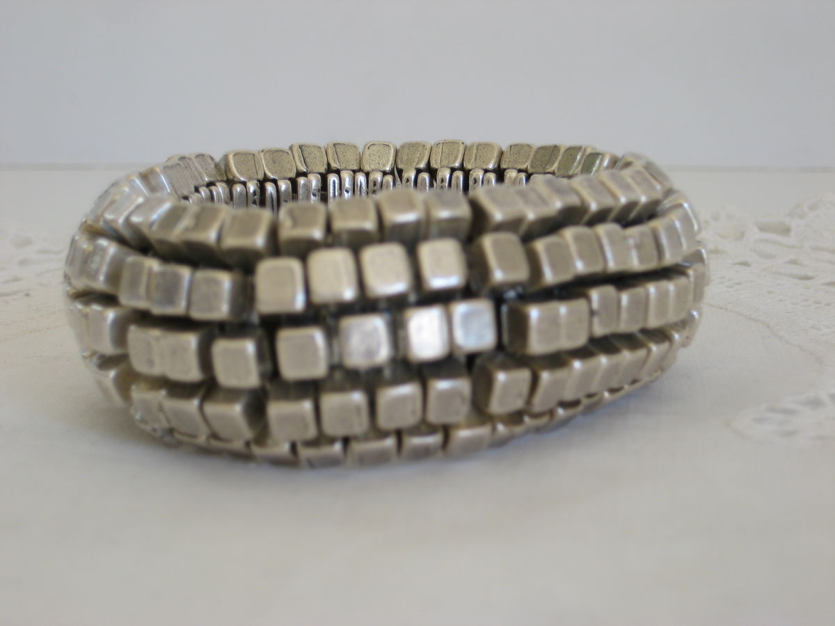 Huge Silver Tone Brutalist Bracelet - product images  of