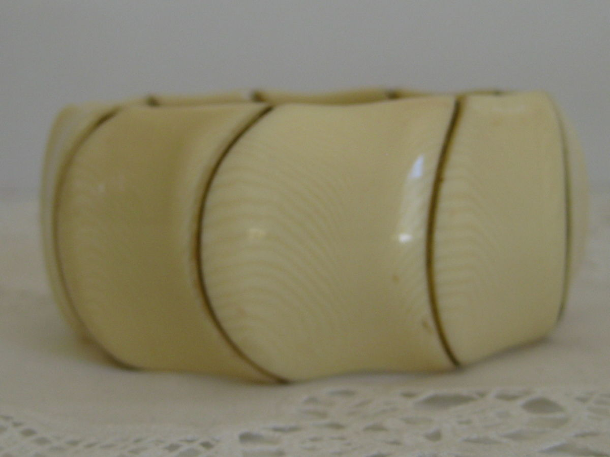 Faux Ivory and Brass Clamper Bracelet - product images  of