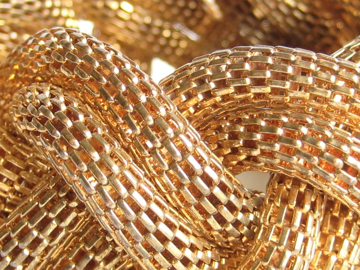 Braided mesh bracelet brass tone metal - product images  of