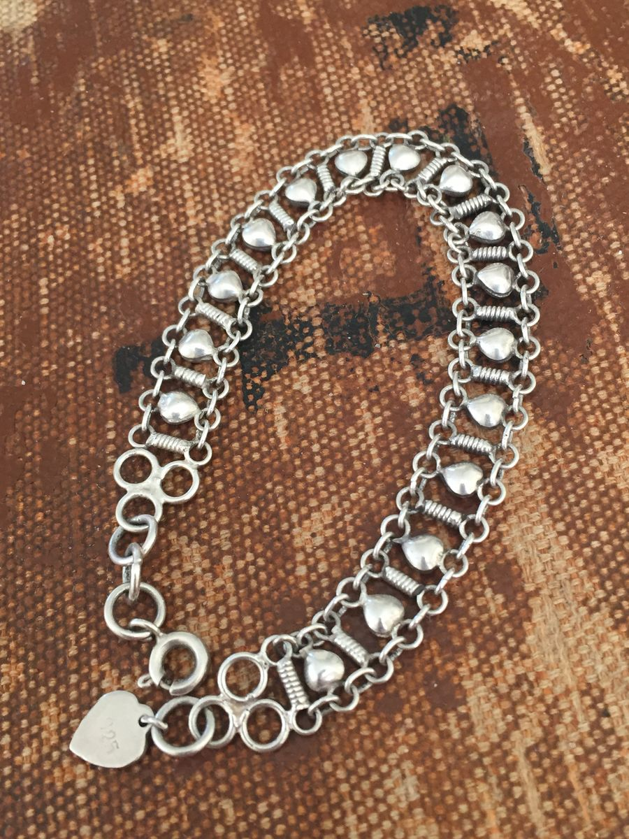 Sterling silver filigree heart chain bracelet - product image