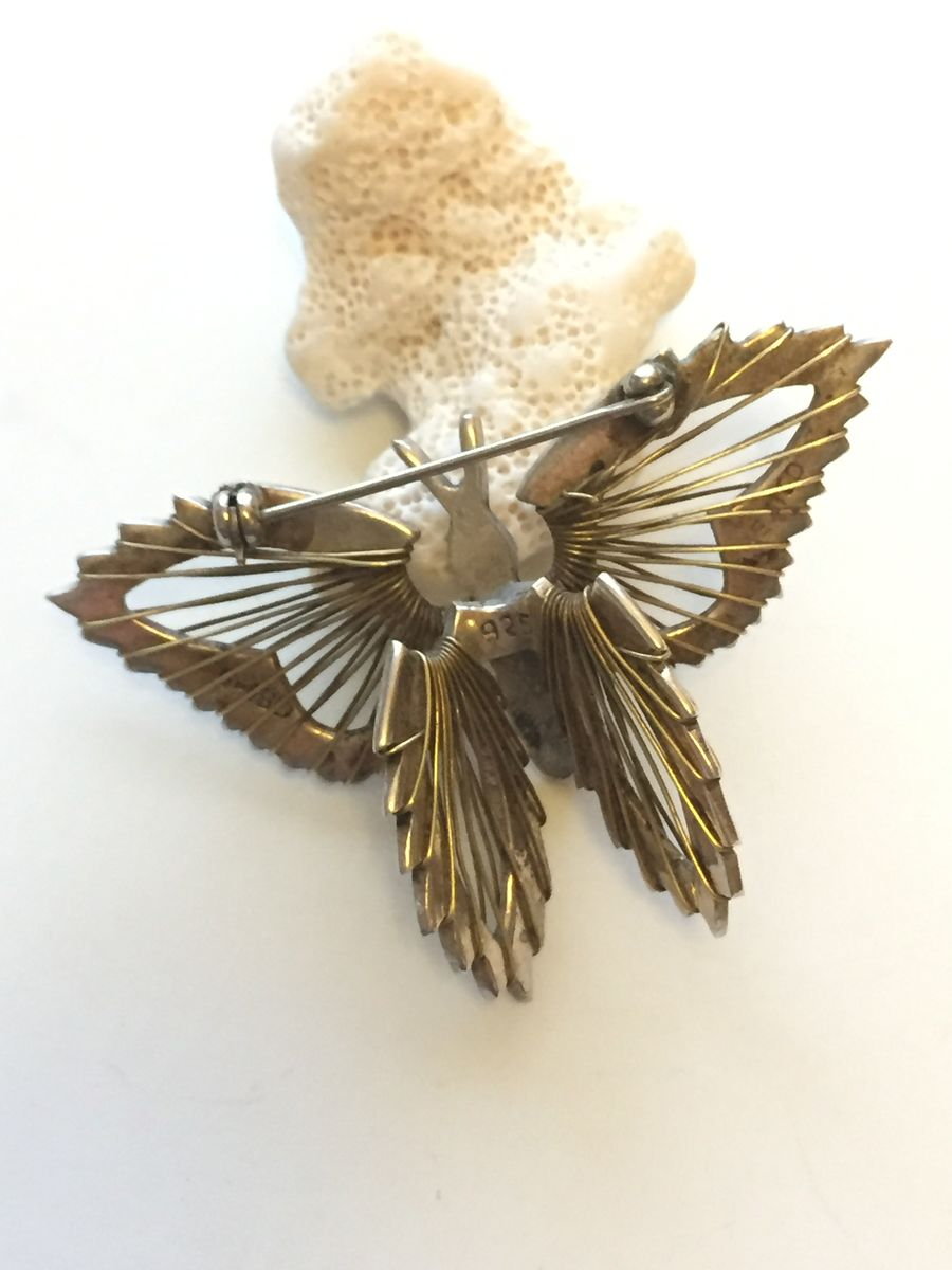 Sterling Silver Butterfly Brooch Signed - product images  of
