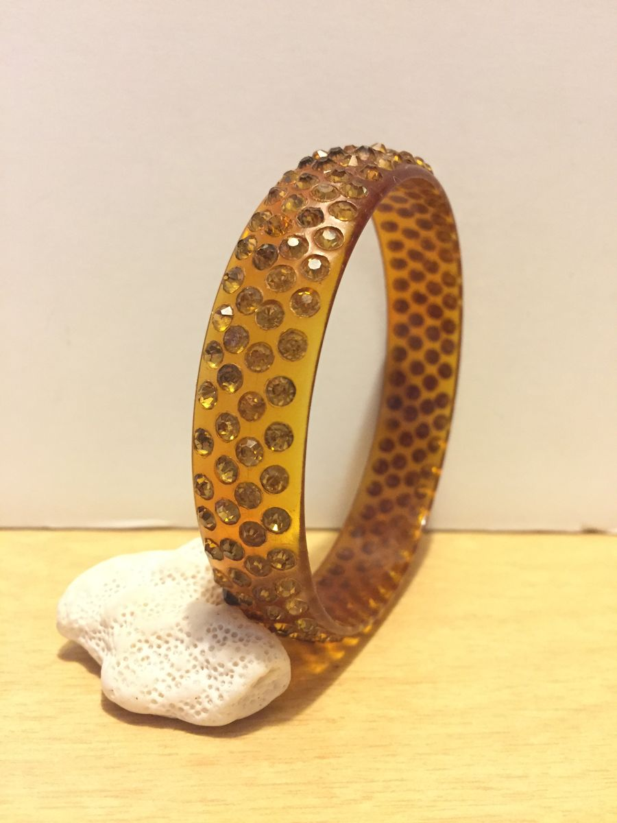 Rhinestone Celluloid Bangle Bracelet  - product images  of