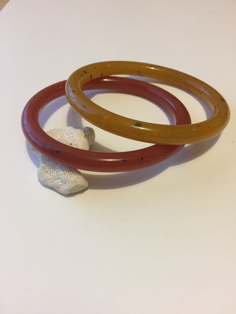 Vintage Lucite Tube Bangle pair - product images  of