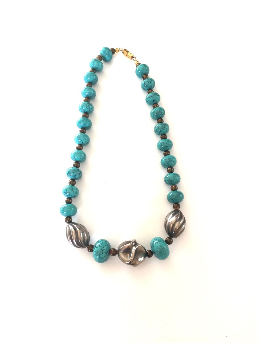 Faux turquoise and silver necklace - product image