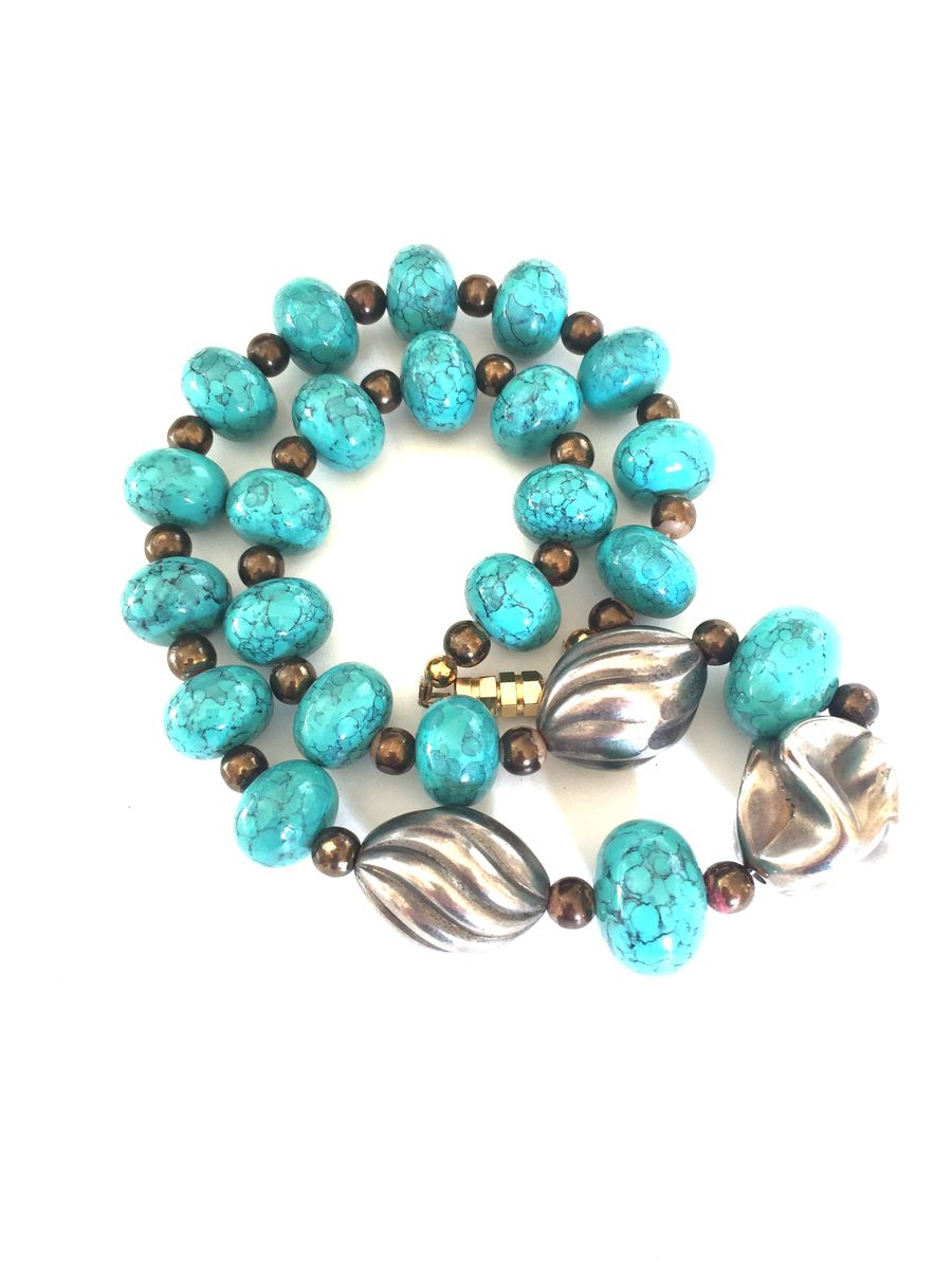 Faux turquoise and silver necklace - product images  of
