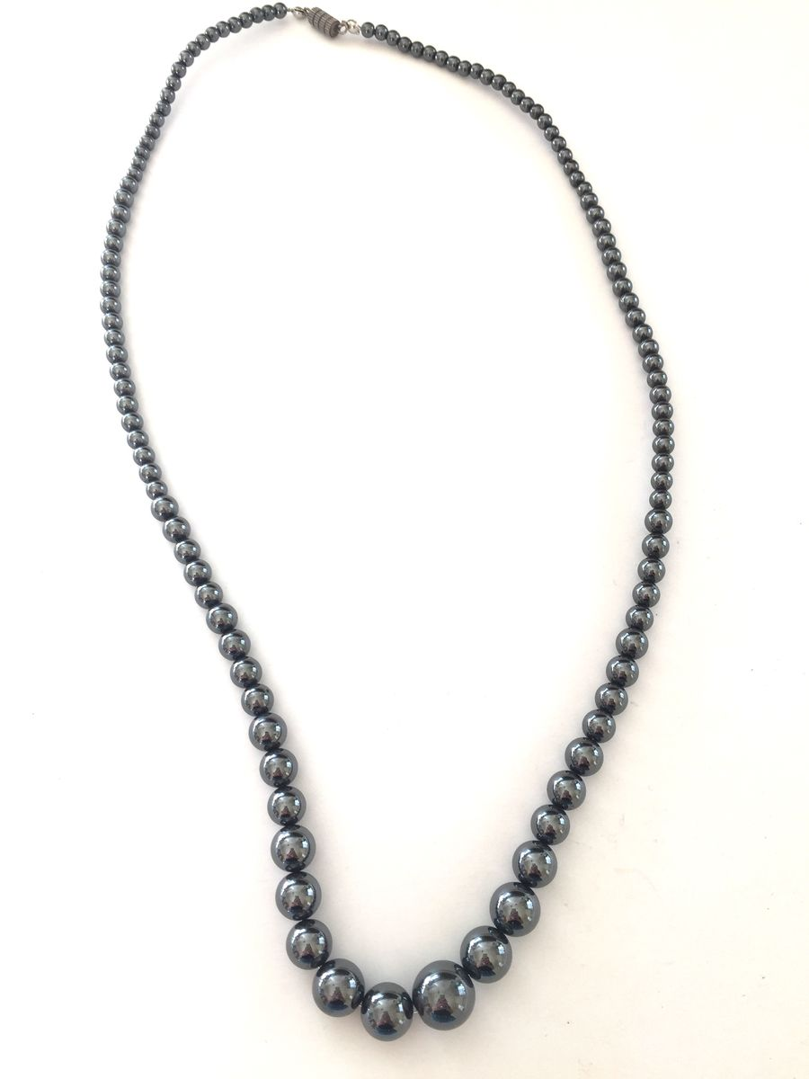Hematite necklace, long graduated beads - product image