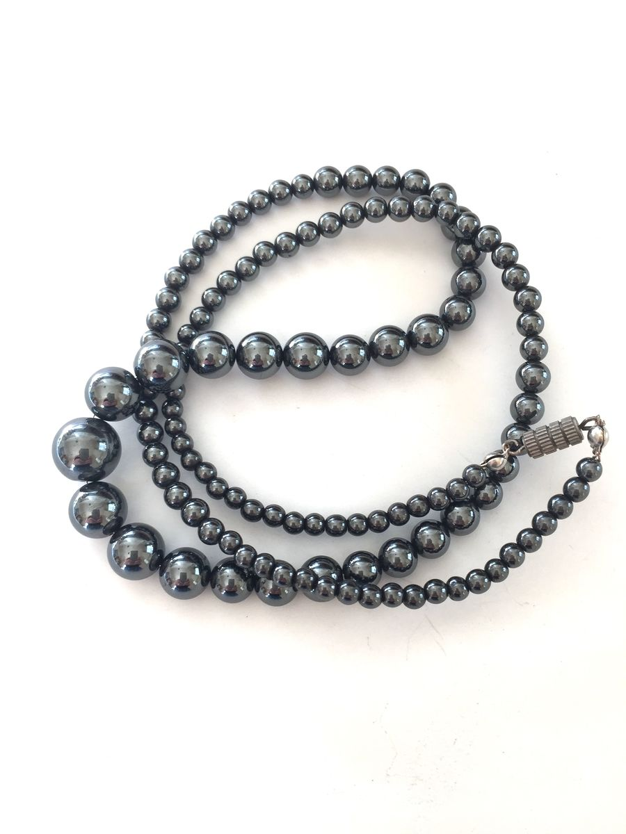Hematite necklace, long graduated beads - product images  of