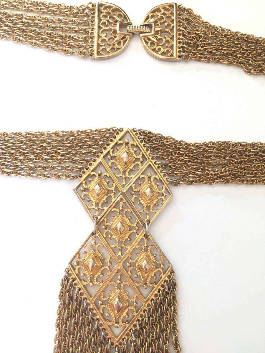Vintage 70's Gold Tone Necklace Multi Chain W/Pendant and Fringe - product images  of
