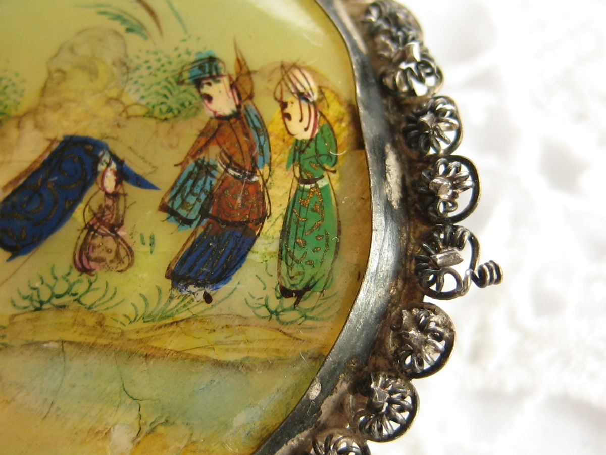Persian Story Brooch Hand Painted MOP - product images  of