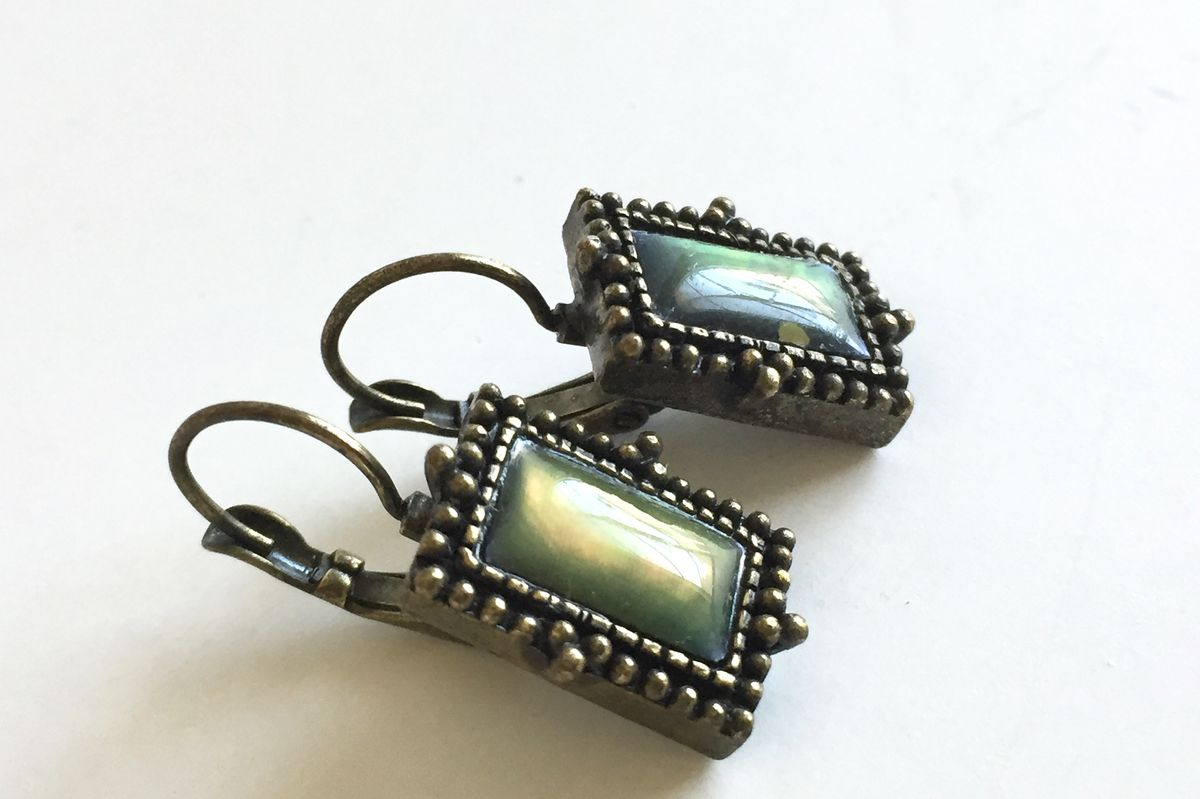 Antiqued Brass Moon Glow Earrings in Green - product images  of