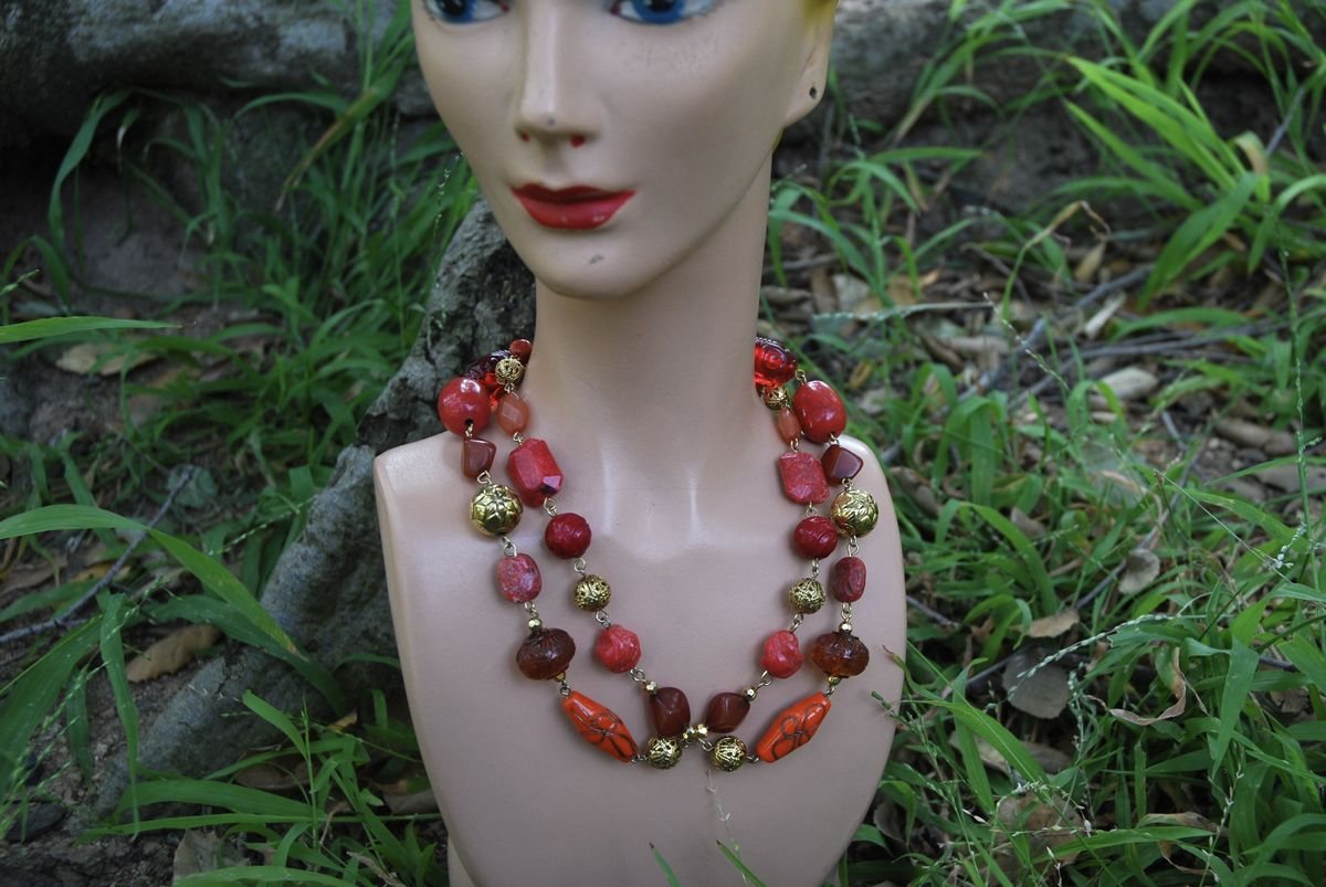 Golden Autumn Beaded Necklace - product image