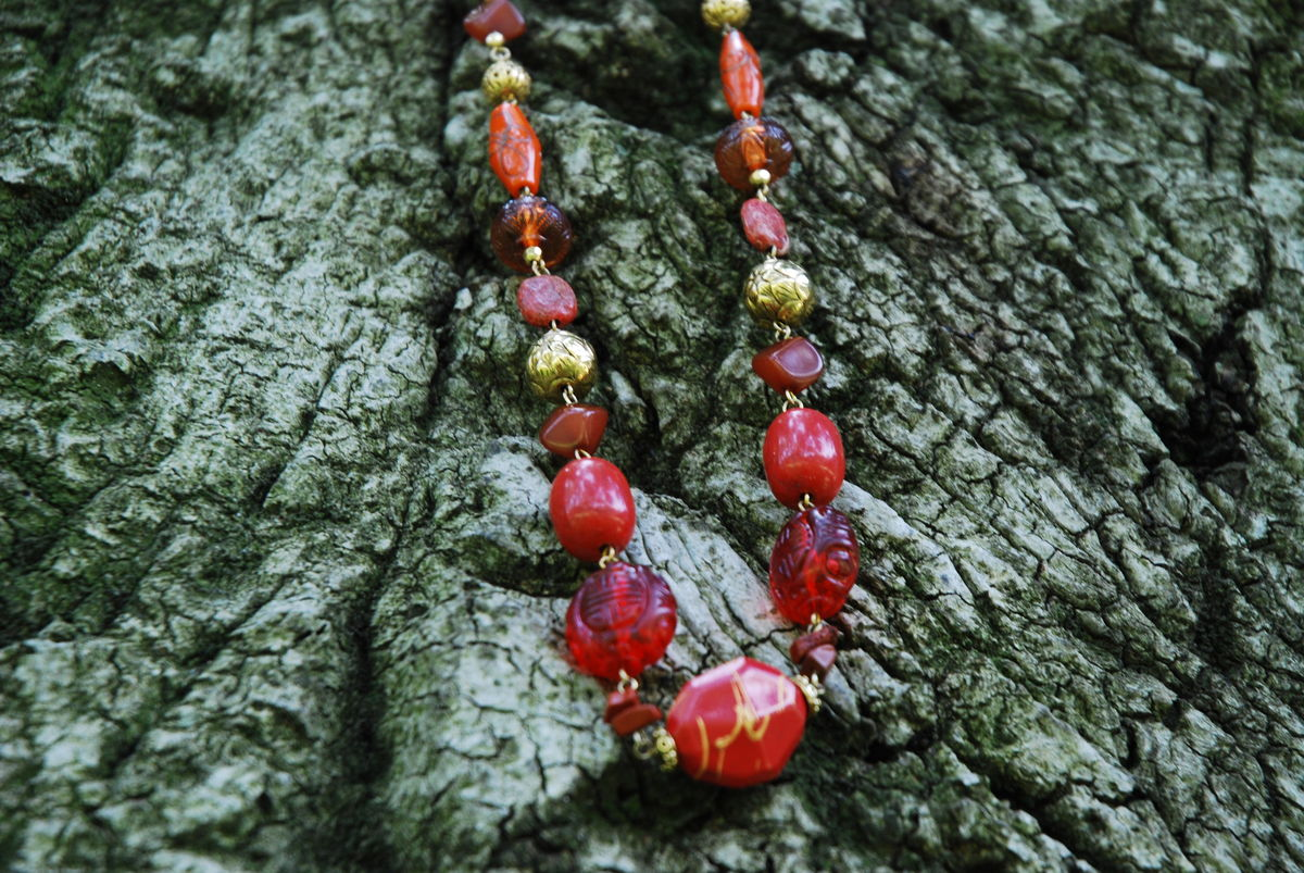 Golden Autumn Beaded Necklace - product images  of