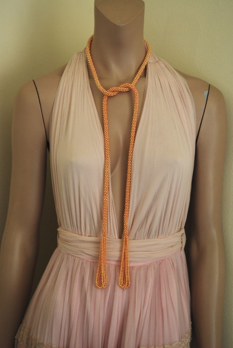 Peach Seed Bead Sautoir Flapper Necklace - product images  of