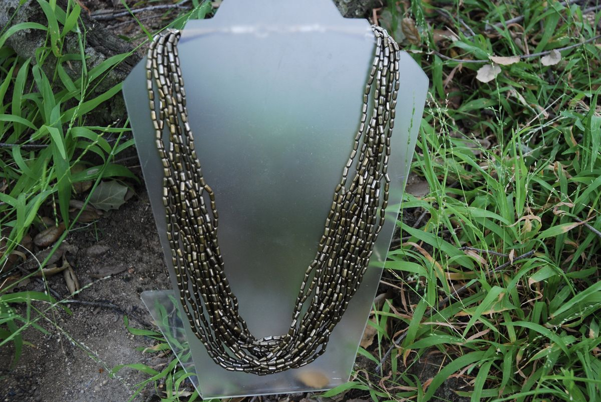 Ethnic Beaded Torsade Necklace Gun Metal Grey - product image