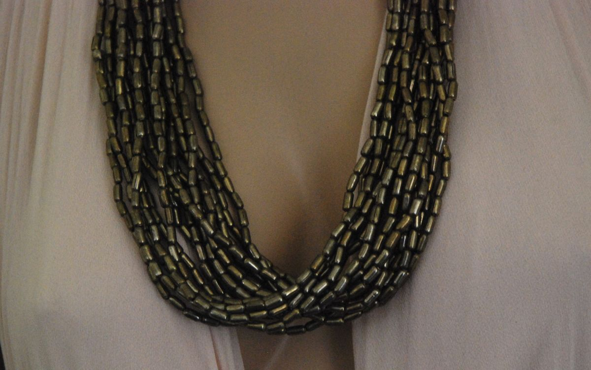 Ethnic Beaded Torsade Necklace Gun Metal Grey - product images  of