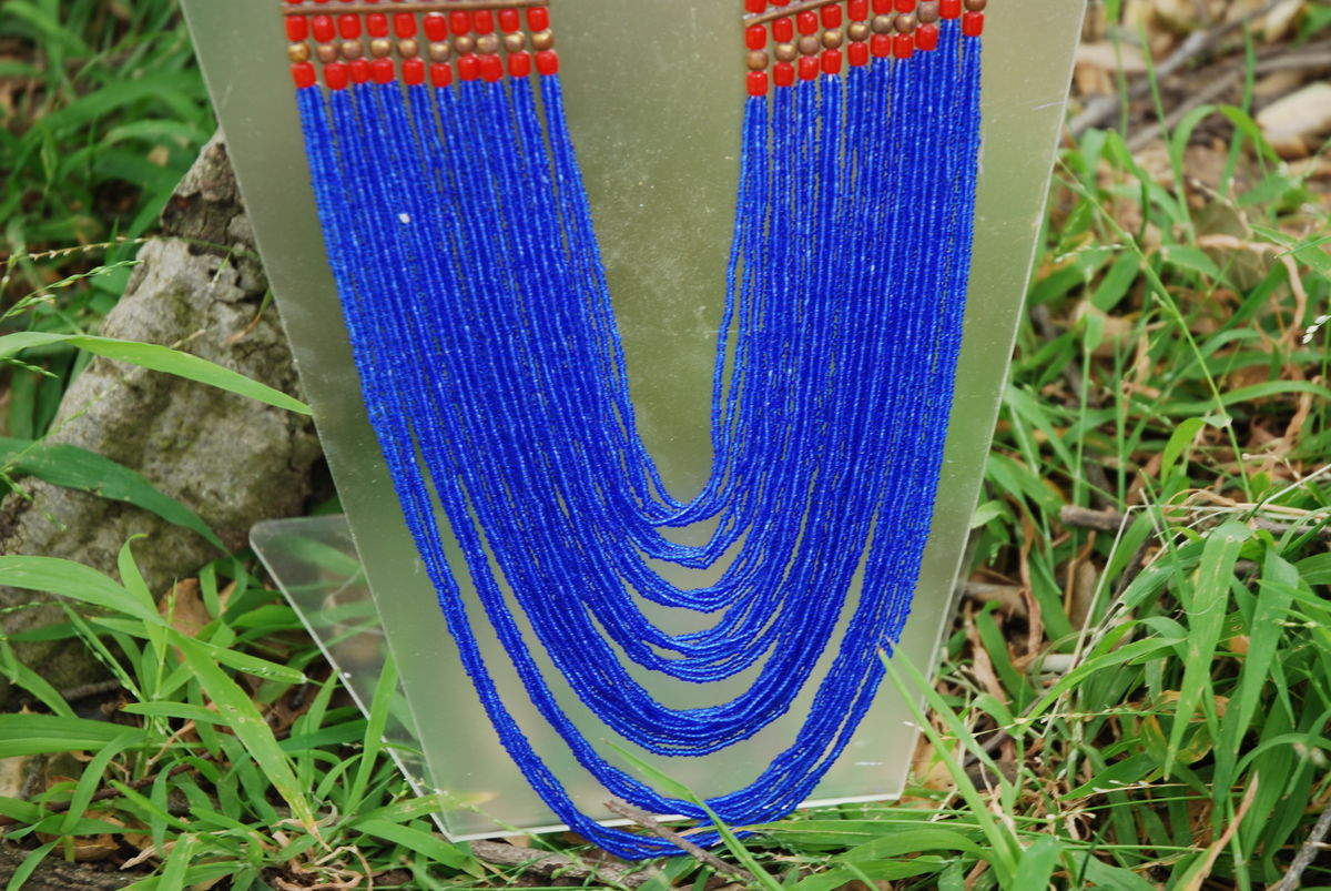 Multi Strand Bohemian Tribal Necklace Blue Seed Beads - product images  of