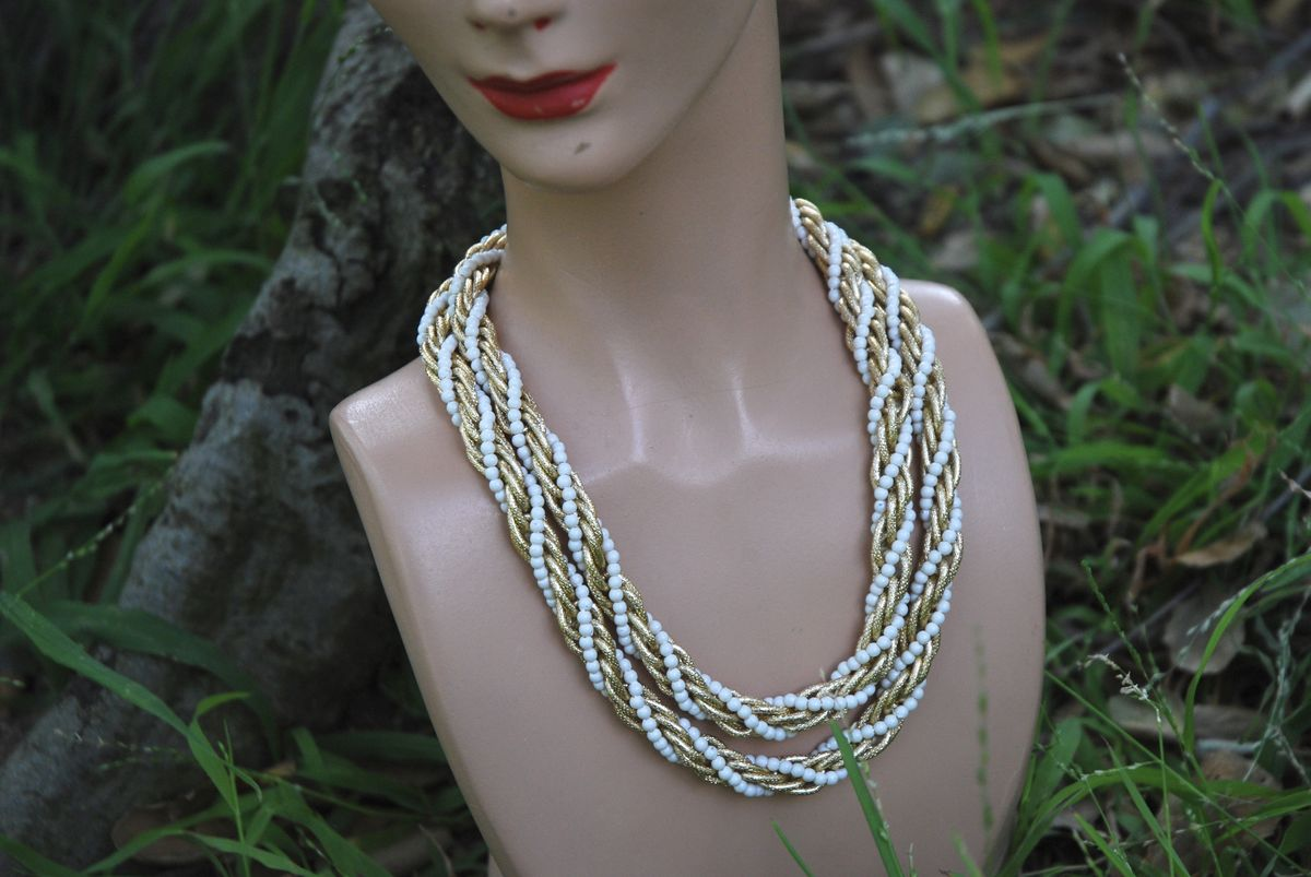 Twisted Rope Necklace Gold Tone with White Beads - product images  of