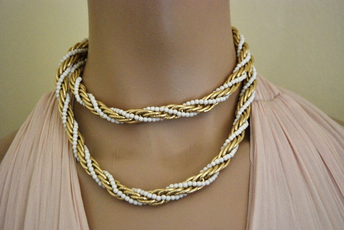 Twisted Rope Necklace Gold Tone with White Beads - product image