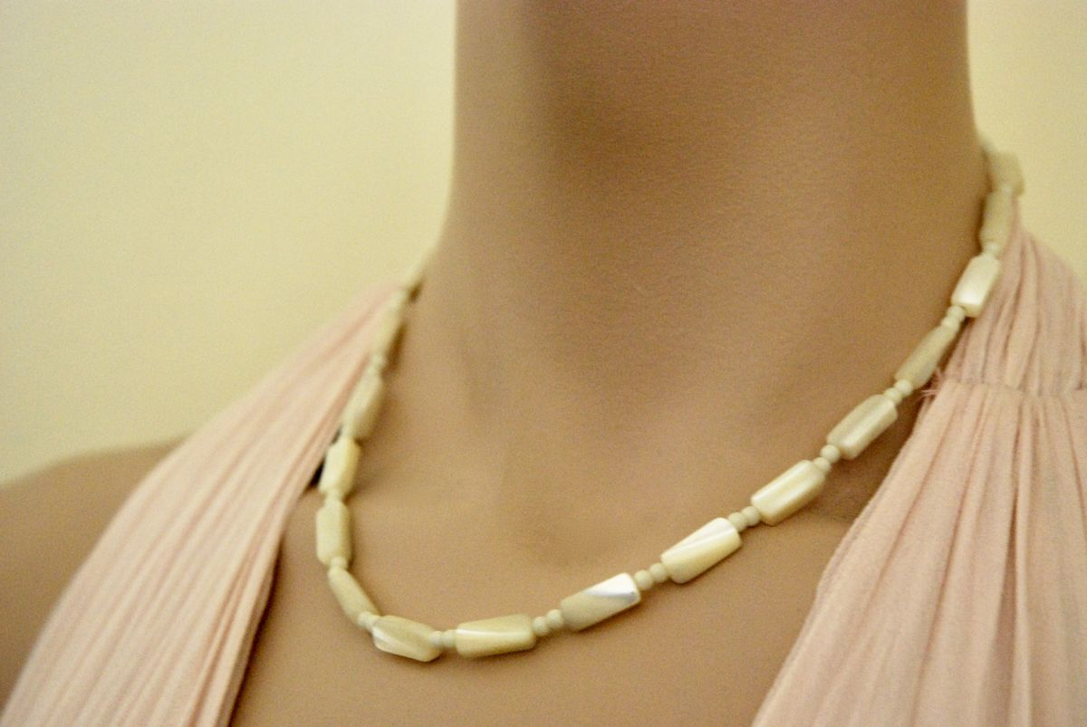 Stunning Mother of Pearl Choker Rectangle Shape Beads - product images  of