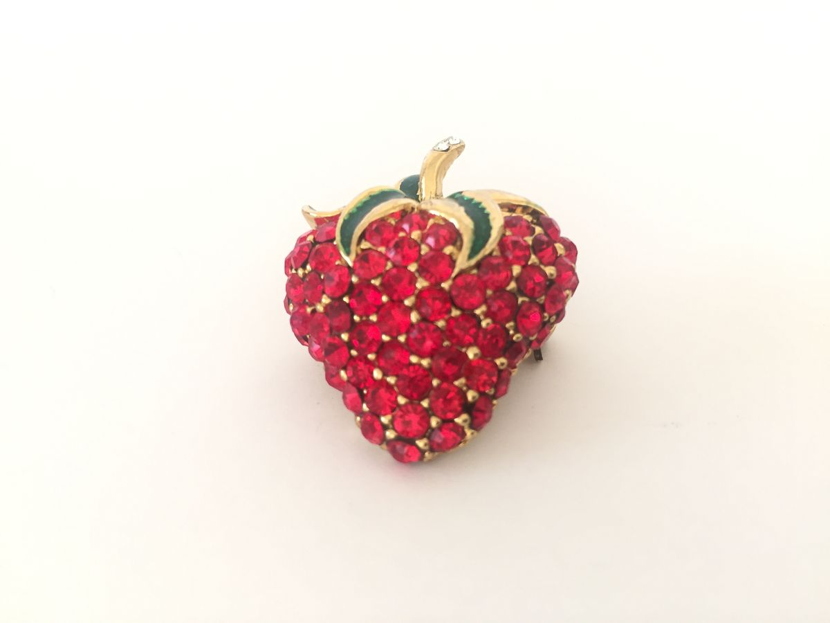 Vintage Rhinestone Strawberry Brooch - product images  of