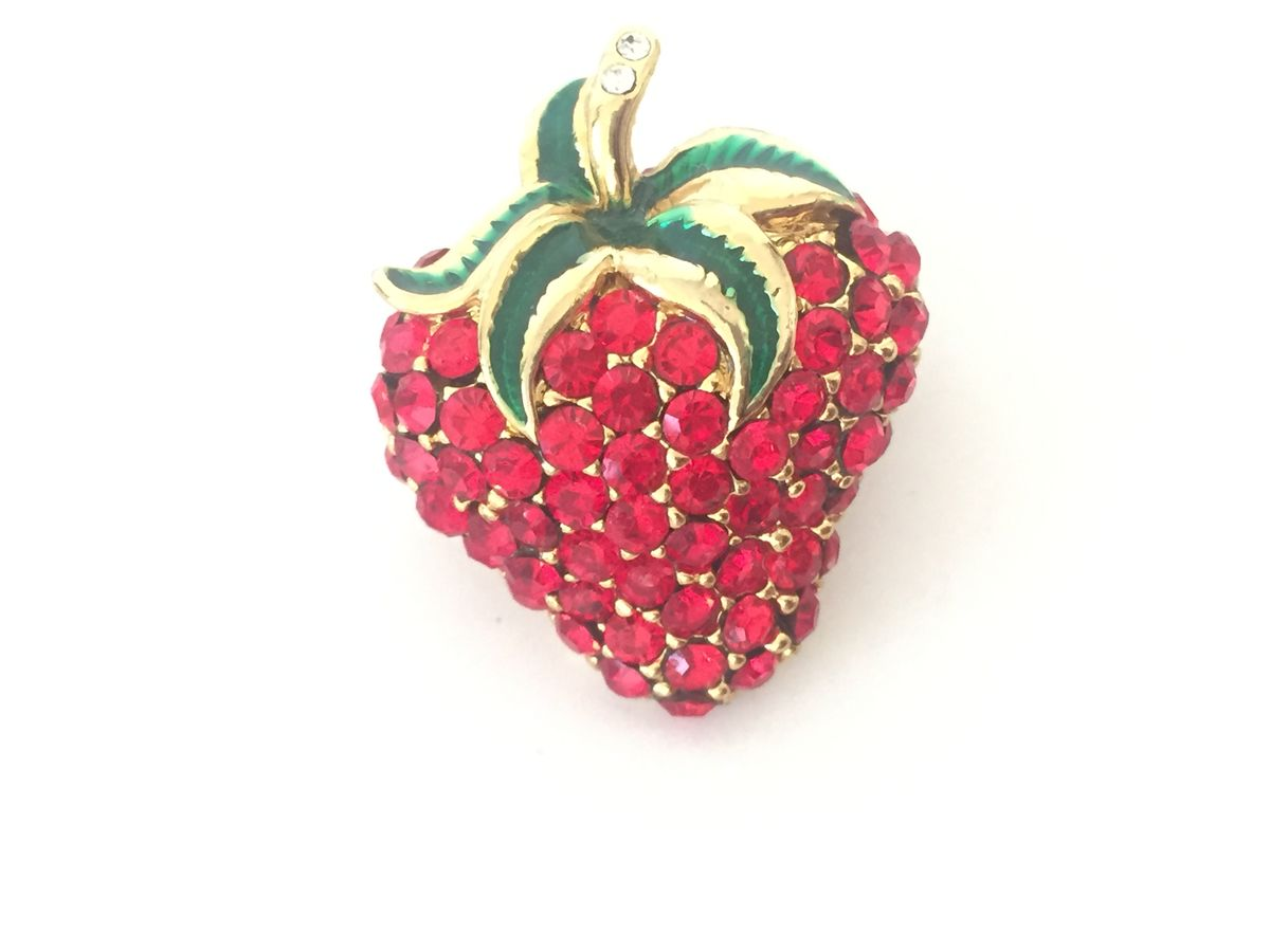 Vintage Rhinestone Strawberry Brooch - product image