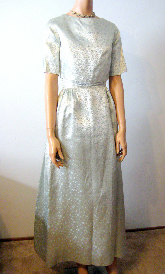 Brocade Party Dress Powder Blue with Jacket Size 2/4 1960's - product image