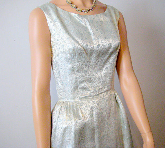 Brocade Party Dress Powder Blue with Jacket Size 2/4 1960's - product images  of