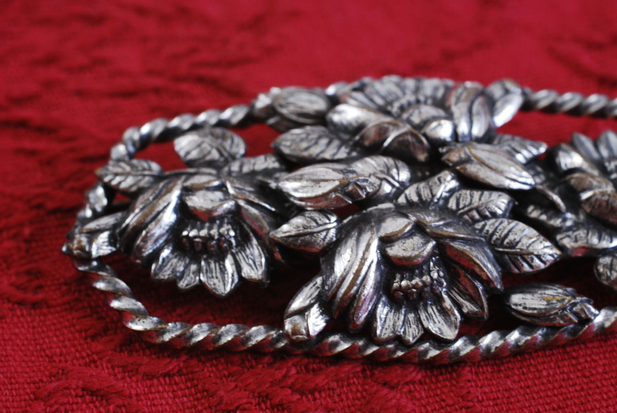 Large Floral Brooch in Silver Repousse - product images  of