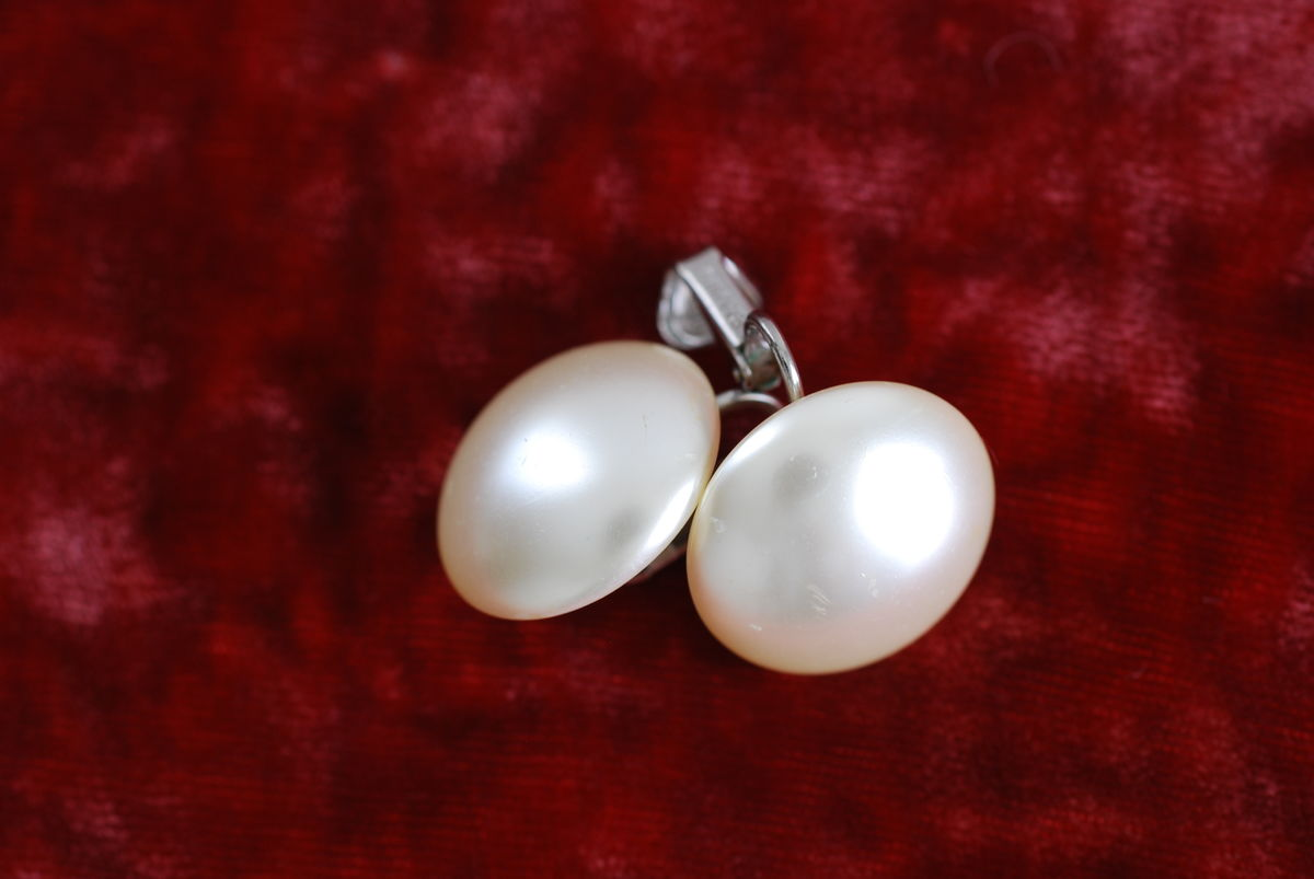 Button Pearl Earrings Vintage by Richelieu - product images  of