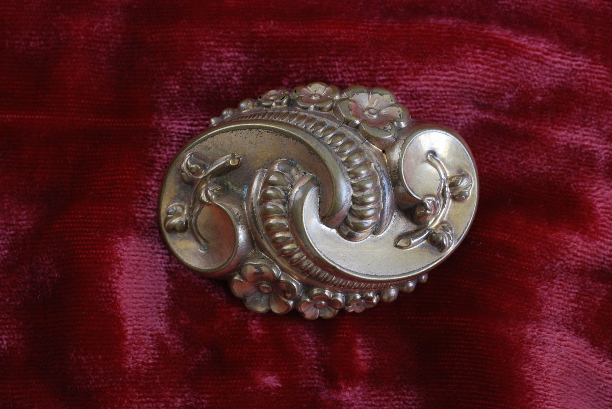 Victorian Repousse Brooch Forget Me Not  - product image