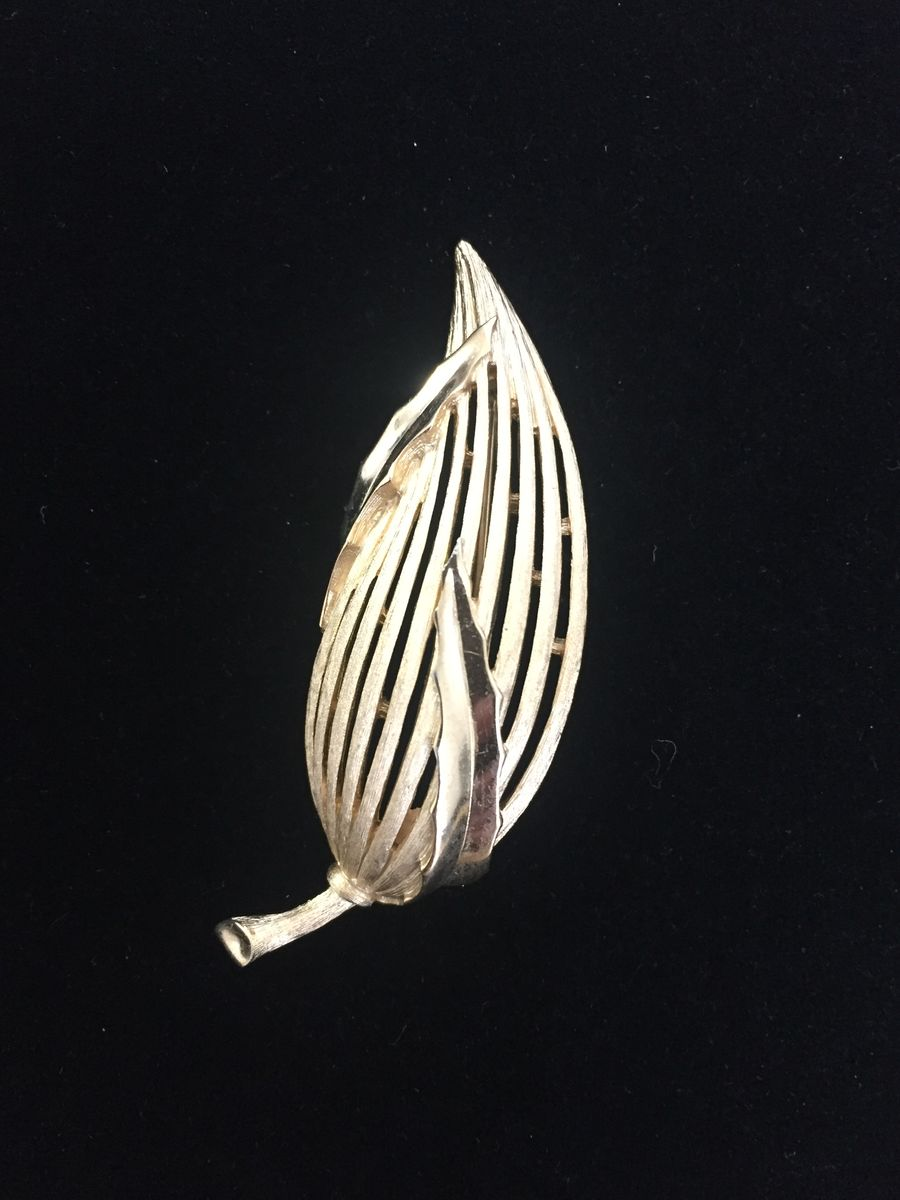 Trifari Gold Tone Leaf Brooch - product images  of