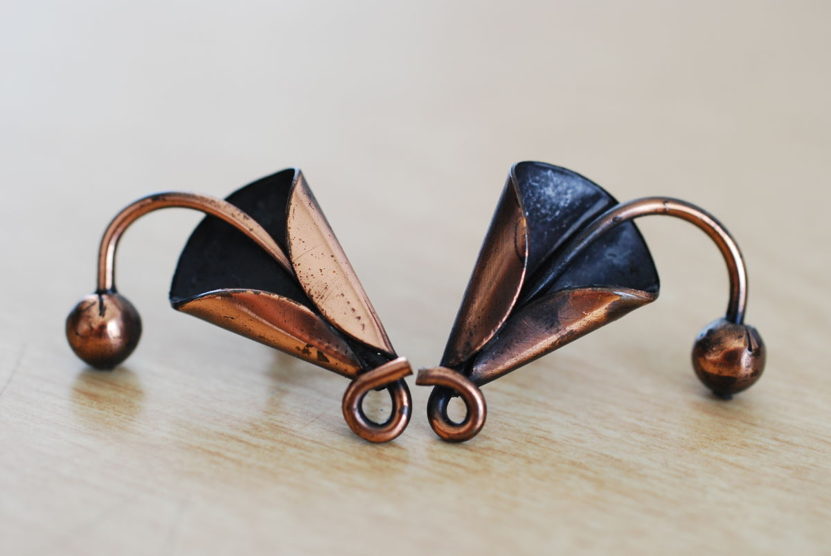 Copper Calla Lily Earrings Abstract Screw Back - product image