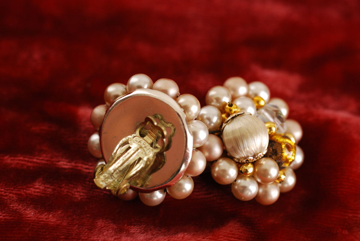 Vintage Cluster Earrings pearls, AB crystals in beige - product images  of