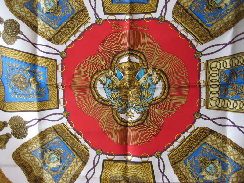 Hermes Silk Scarf Carre: Poste et Cavalerie by Joachim Metz in Red - product images  of