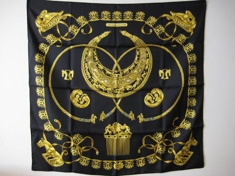 Hermes,Silk,Scarf,Carre:,Cavaliers,d'Or,by,Rybal,in,Black, Silk scarf, Carre, Cavalierd d'Or, Rybal, Black silk scarf, Hermes Paris