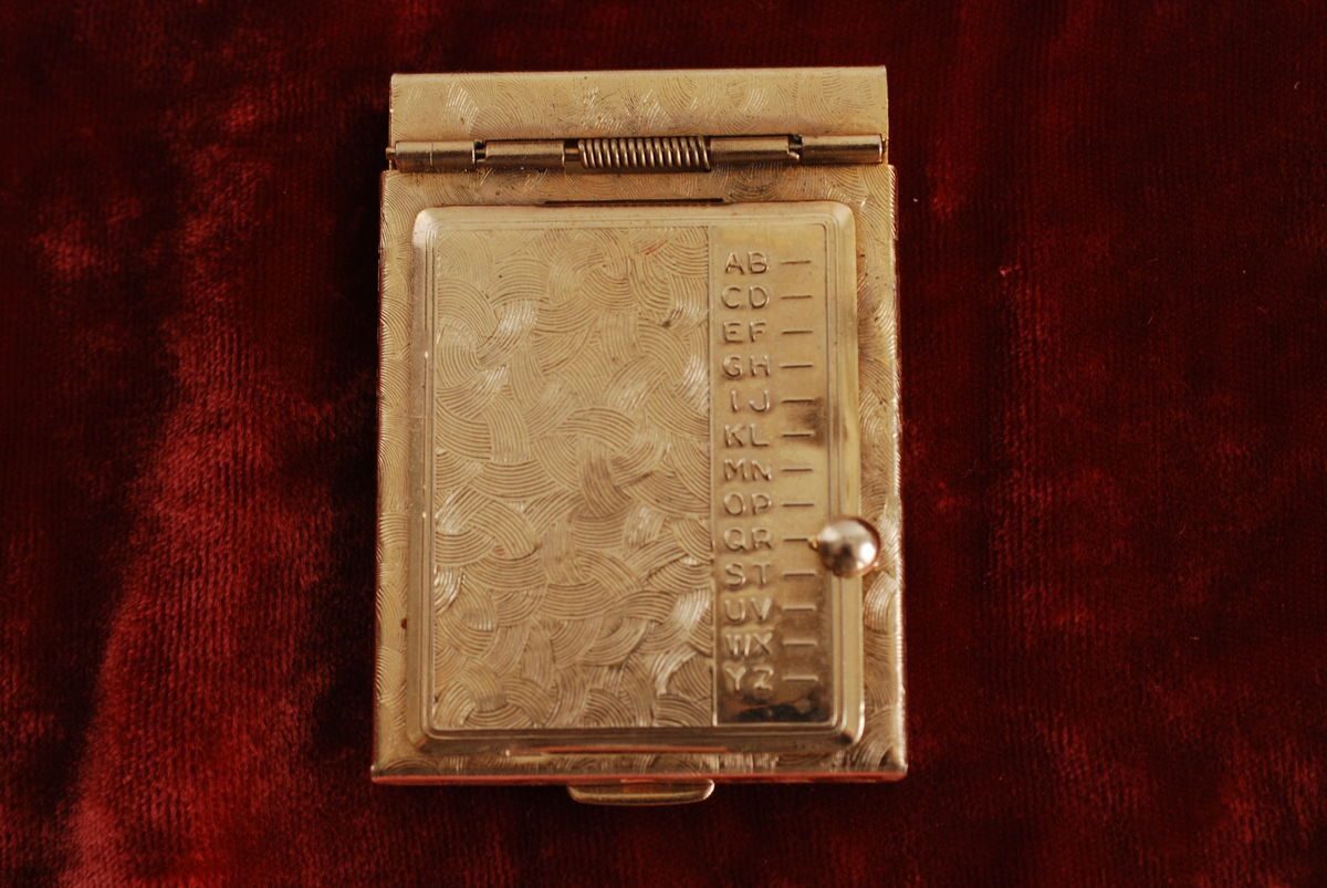 Vintage Mini Pop Up Metal Address Book Purse Size - product image