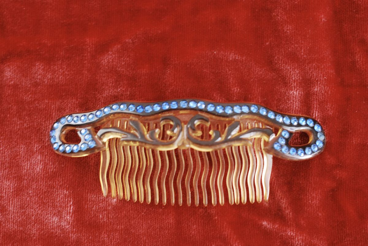 Celluloid & Blue Rhinestone Hair Comb - product image