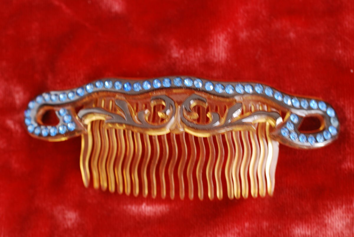 Celluloid & Blue Rhinestone Hair Comb - product images  of