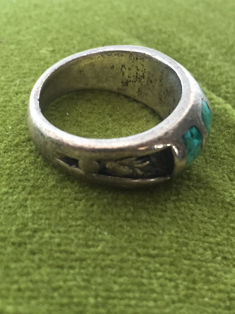Antique Silver and Crushed Turquoise Ring Native American - product images  of