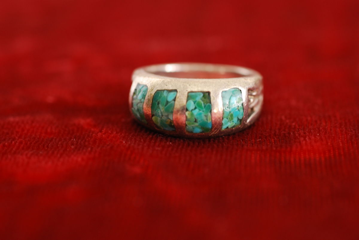 Antique Silver and Crushed Turquoise Ring Native American - product image