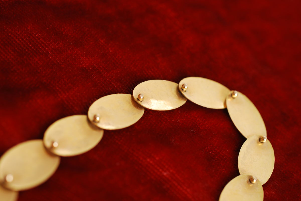 "Gold Tone Disc Necklace Choker Length 16"" - product images  of"