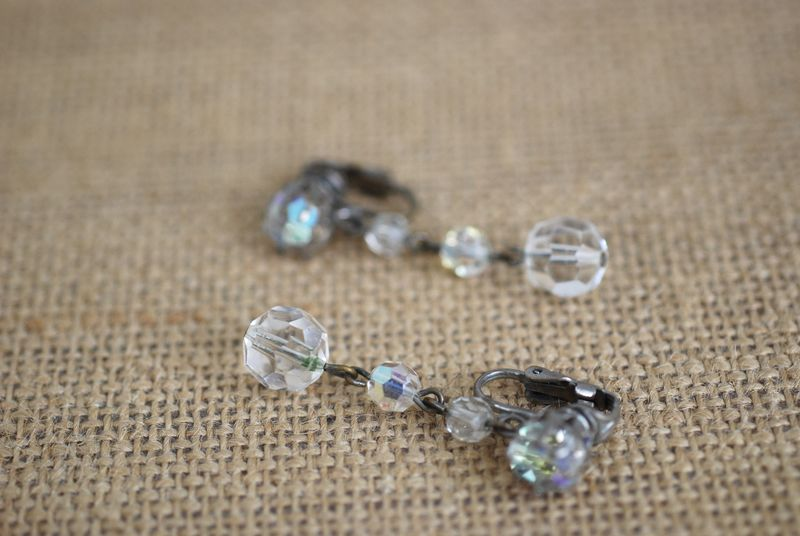 1960s Aurora Borealis Crystal Earrings Clip On Pinup Mad Men Retro