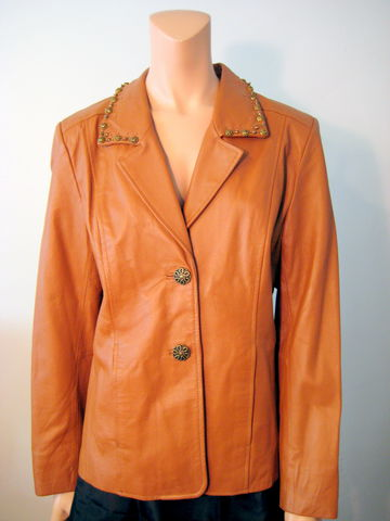 Pamela,McCoy,Leather,Jacket,Pamela McCoy Collections, size small, leather jacket, womens jacket,butterscotch leather, womens leather blazer