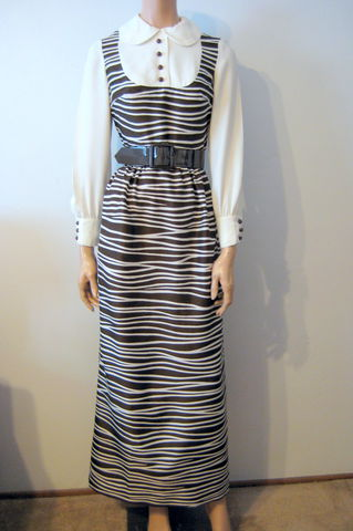 Long,Sleeve,Belted,Maxi,Dress,Zebra,Stripe,by,Lord,and,Taylor,Lord and Taylor, Brown, Cream, Zebra print, Stripe, maxi dress, long dress, size 4