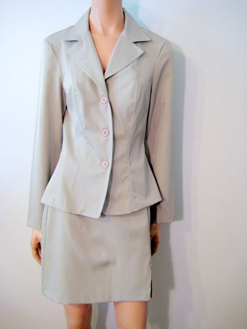 Young,Women's,Suit,with,Short,Skirt,in,Khaki,Stretch,Polyester,Suit for work, Junior size suit, mini skirt, short skirt suit, khaki suit, stretch polyester, 1980's womens suit
