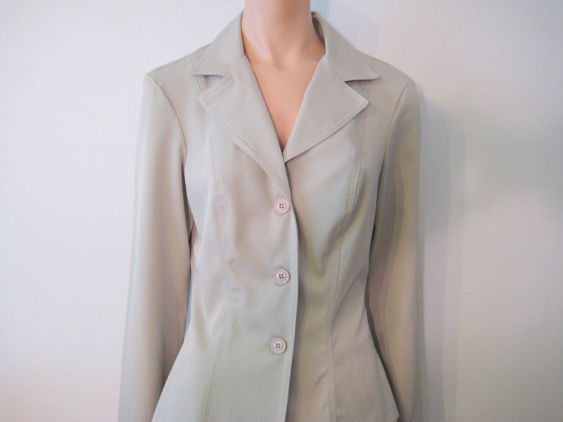 Young Women's Suit with Short Skirt in Khaki Stretch Polyester - product images  of